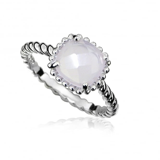 Hope Silver & Pink Chalcedony Square Ring Size L