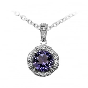 Silver, Purple Amethyst & CZ Round Necklace