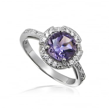 Silver & Purple Amethyst Ring Size P