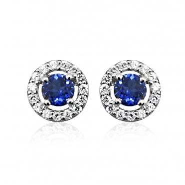 Silver Round Blue Sapphire Stud Earrings