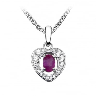 Silver Ruby & CZ Heart Pendant Necklace