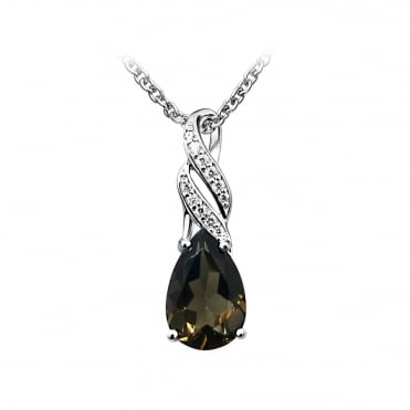 Silver, Smoky Quartz & CZ Pendant Necklace