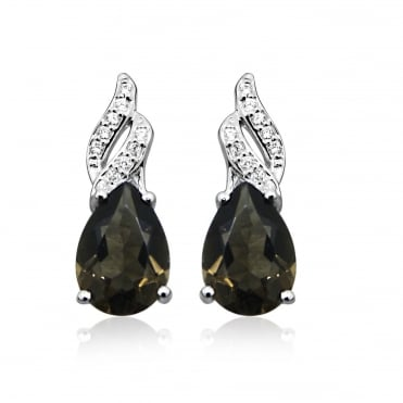 Silver Smoky Quartz & CZ Stud Earrings