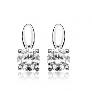 Silver Solitaire CZ Stud Earrings