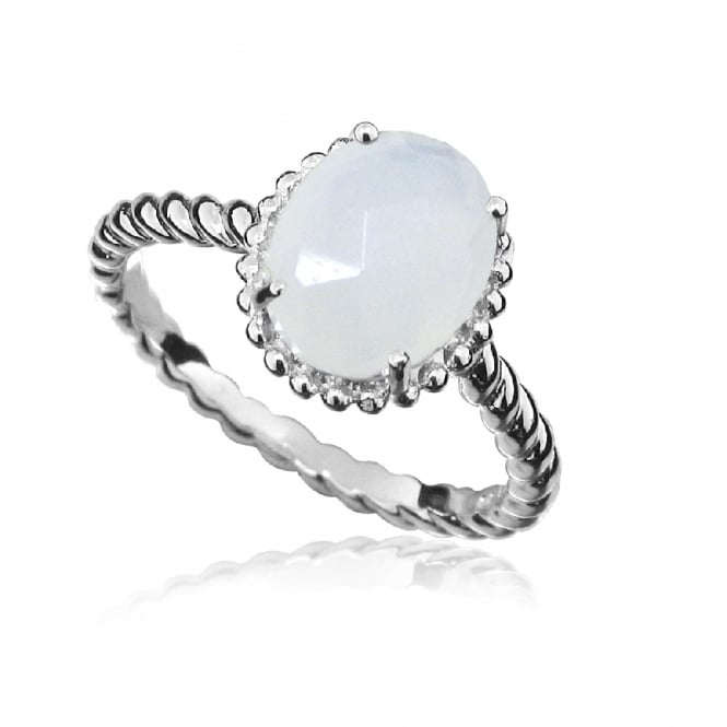 Hope Silver & White Chalcedony Oval Ring Size P