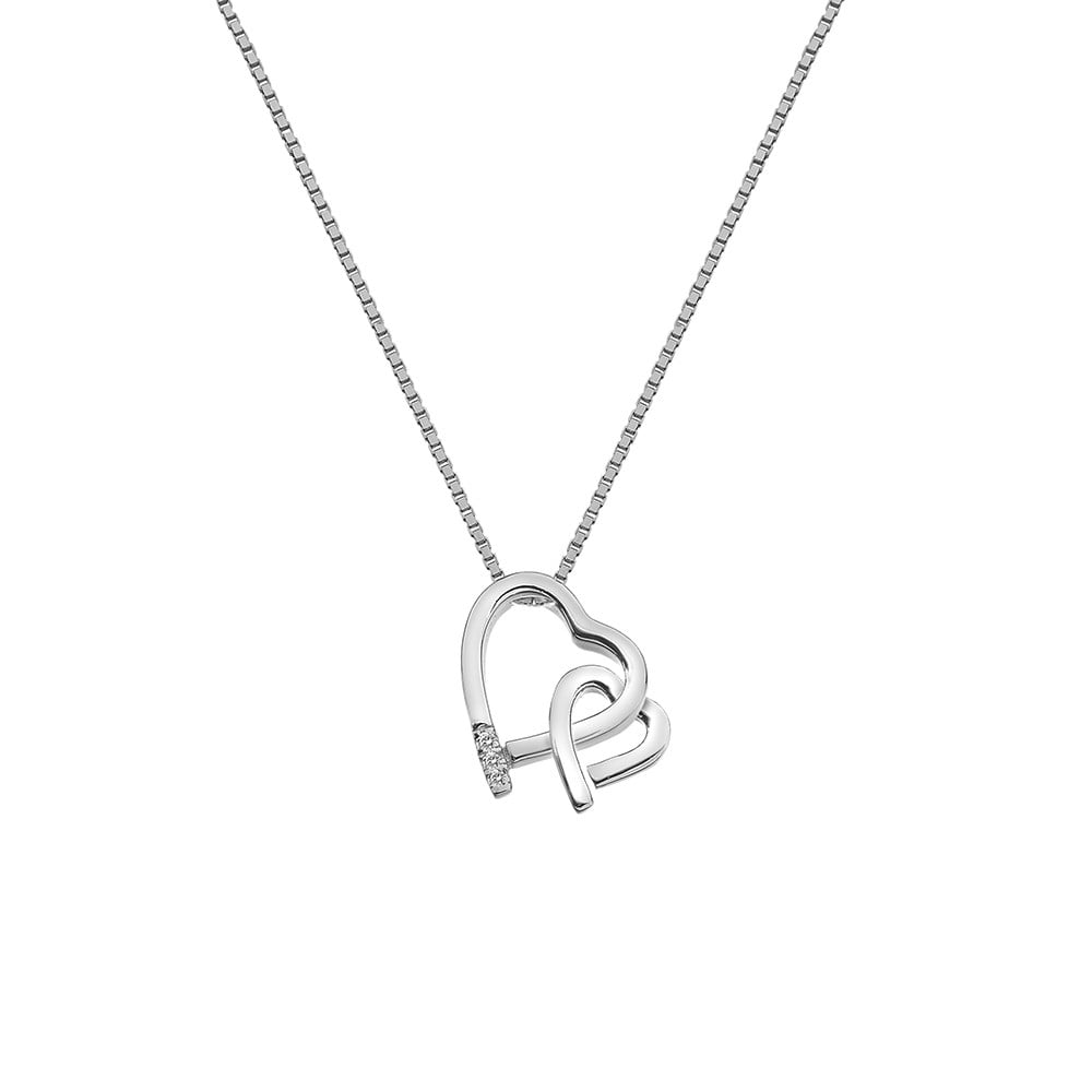 diamonds necklace kaystore kay ct en heart sterling zm infinity silver tw mv