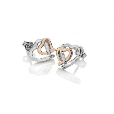 Amore Silver & Rose Gold Interlocking Heart Earrings