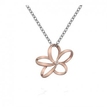 Rose Gold, Silver and Diamond Paradise Open Petal Flower Necklace