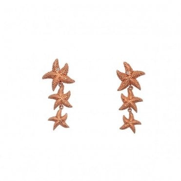 Rose Gold, Silver and Diamond Starfish Eternal Love Drop Earrings