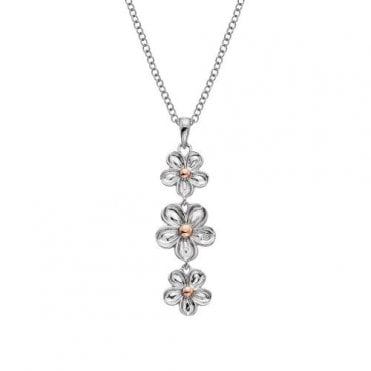 Silver and Diamond Forget Me Not Drop Pendant
