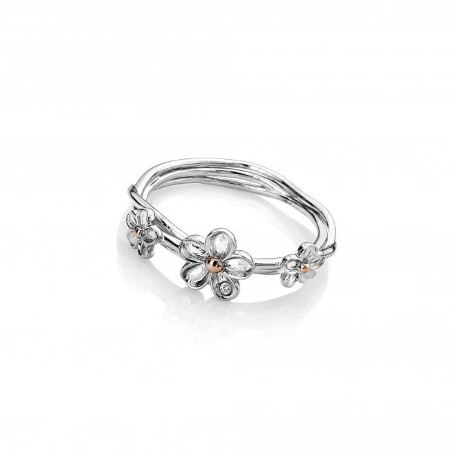 Hot Diamonds Silver and Diamond Forget Me Not Ring Size M
