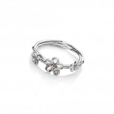 Silver and Diamond Forget Me Not Ring Size M
