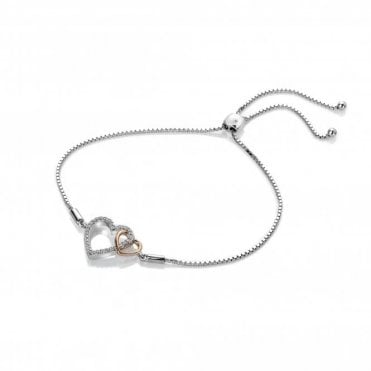 Silver and Rose Gold Accents Togetherness Open Heart Bracelet