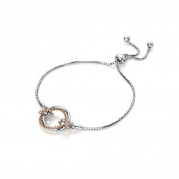 Silver and Rose Gold Vermail Diamond Unity Circle Bracelet