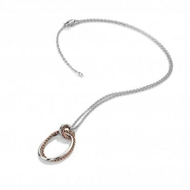 Silver and Rose Gold Vermeil Diamond Unity Circle Pendant