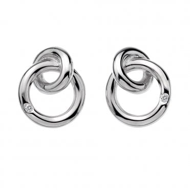 Silver Eternal Interlocking Circles Stud Earrings