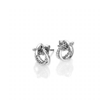 Silver Jasmine Unity Interlocking Stud Earrings