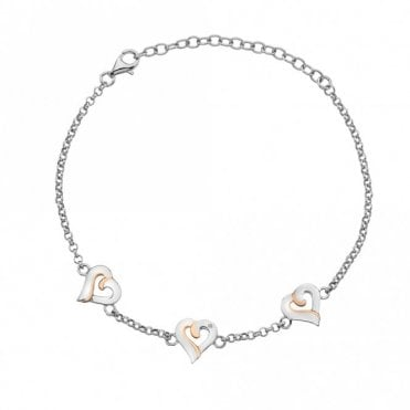 Silver, Rose Gold and Diamond Together Heart Bracelet