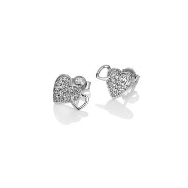 Silver & Rose Gold Togetherness Heart Stud Earrings