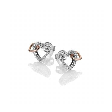 Silver & Rose Gold Togetherness Open Heart Stud Earrings