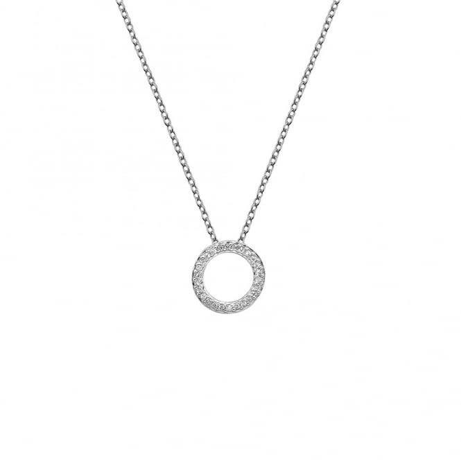 Hot Diamonds Silver & White Topaz Flora Circle Pendant Necklace
