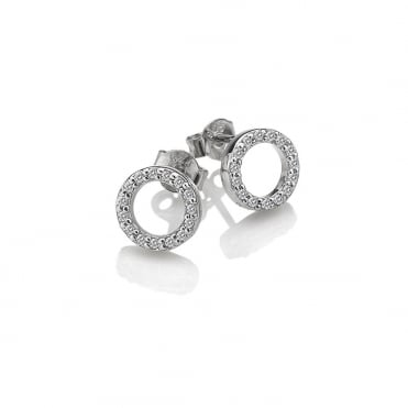 Silver & White Topaz Flora Circles Stud Earrings