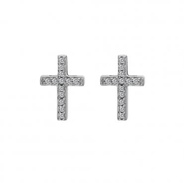 Silver & White Topaz Flora Cross Stud Earrings