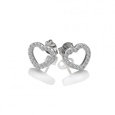 Silver & White Topaz Flora Hearts Stud Earrings