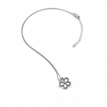 Silver & White Topaz Gentle Flower Pendant Necklace