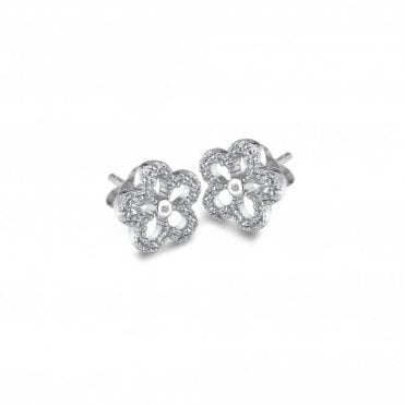 Silver & White Topaz Gentle Flower Stud Earrings