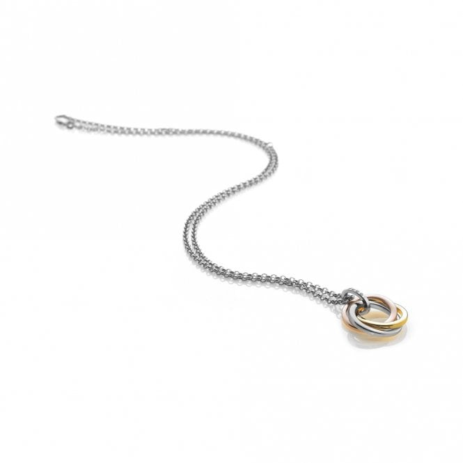 Hot Diamonds Trio Silver, Gold & Rose Gold Interlocking Rings Pendant Necklace