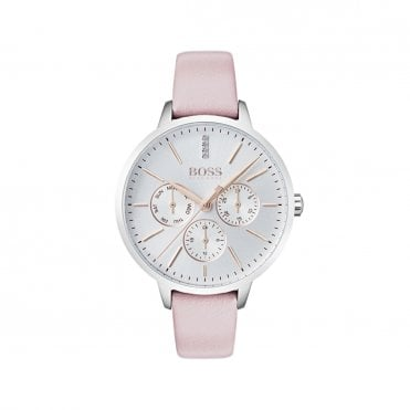 Ladies Symphony Silver White Steel & Pink Watch