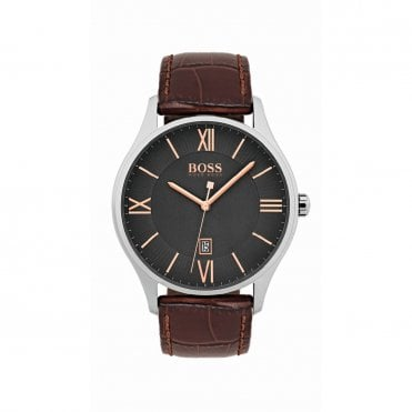 Mens Governor Grey Steel & Brown Watch