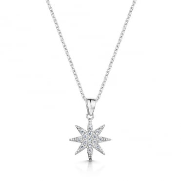 Anne Rhodium Pave Pendant Necklace