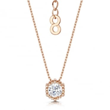 Anya Rose Gold Millegrain Pendant Necklace