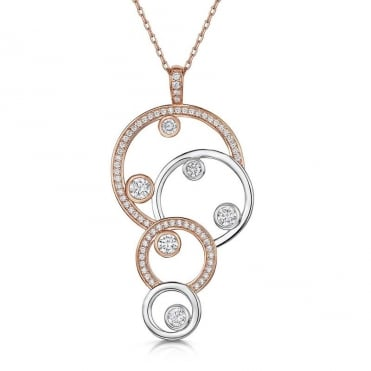 Charlotte Rose Gold Four Circle Pendant Necklace