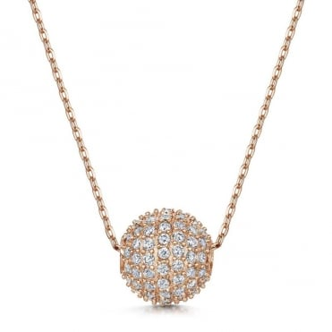 Dianna Rose Gold Snowball Pendant Necklace