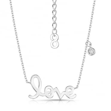 Love Story Rhodium Pendant Necklace