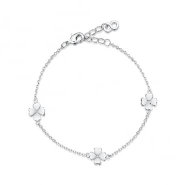 Love X Infinity Rhodium White Four Leaf Clover Bracelet