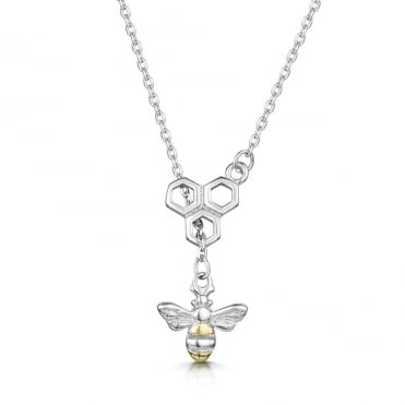 Love X Infinity Rhodium White Honey Bee Pendant Necklace