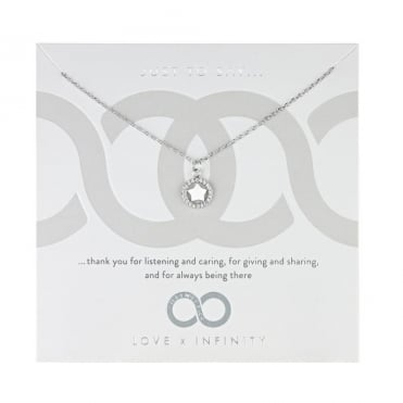 Love X Infinity Rhodium White Star Halo Pendant Necklace