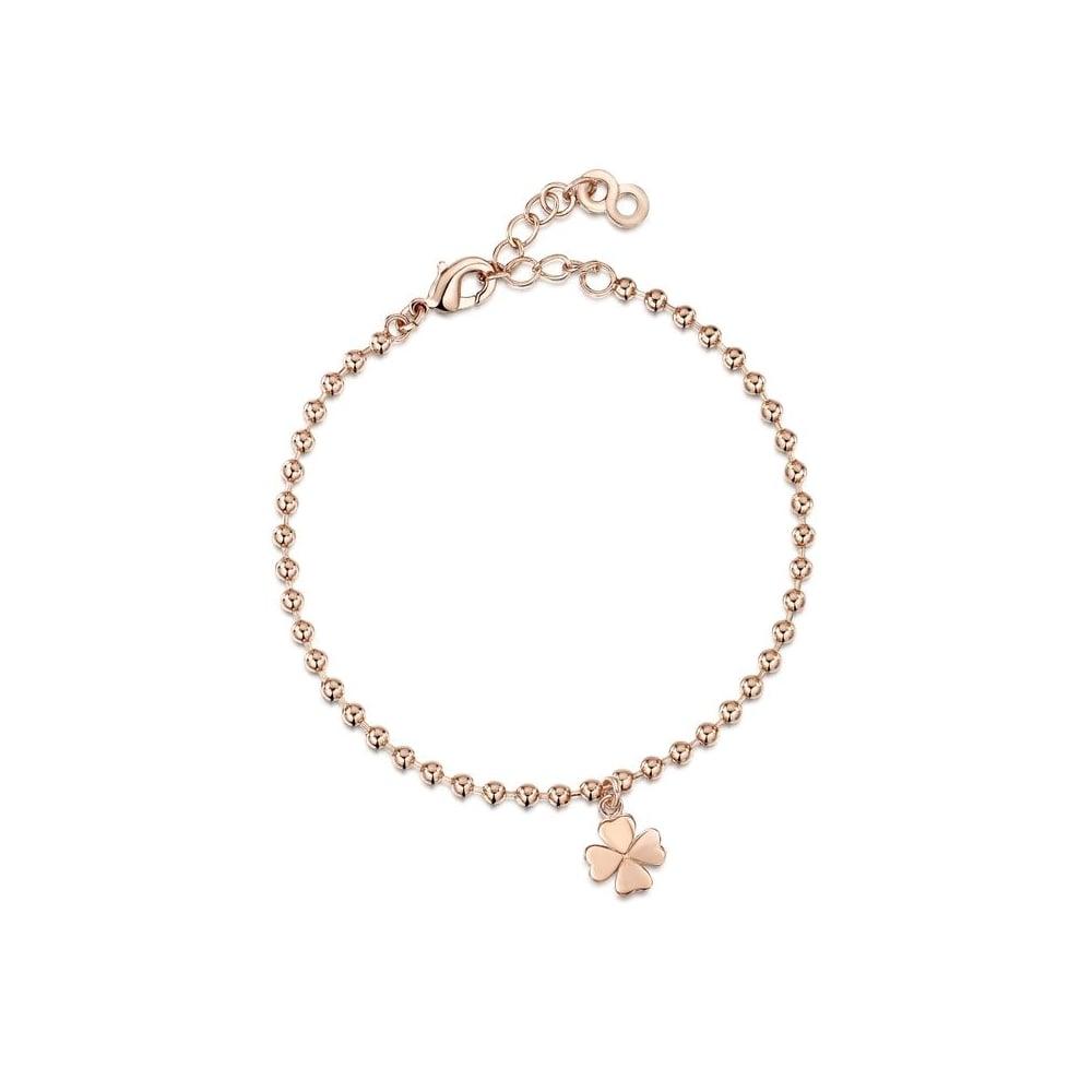 Super INFINITY & Co Love X Infinity Rose Gold Four Leaf Clover Bracelet CW91