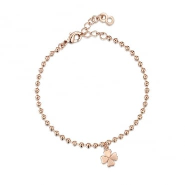 Love X Infinity Rose Gold Four Leaf Clover Bracelet