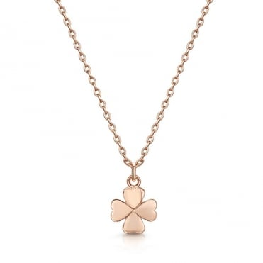 Love X Infinity Rose Gold Four Leaf Clover Pendant Necklace