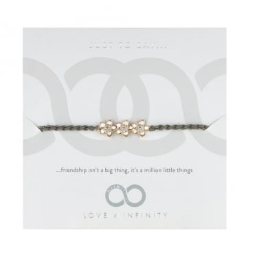 Love X Infinity Rose Gold & Grey Forget Me Not Friendship Bracelet