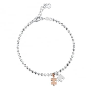 Love X Infinity Rose Gold & White Puzzle Bracelet