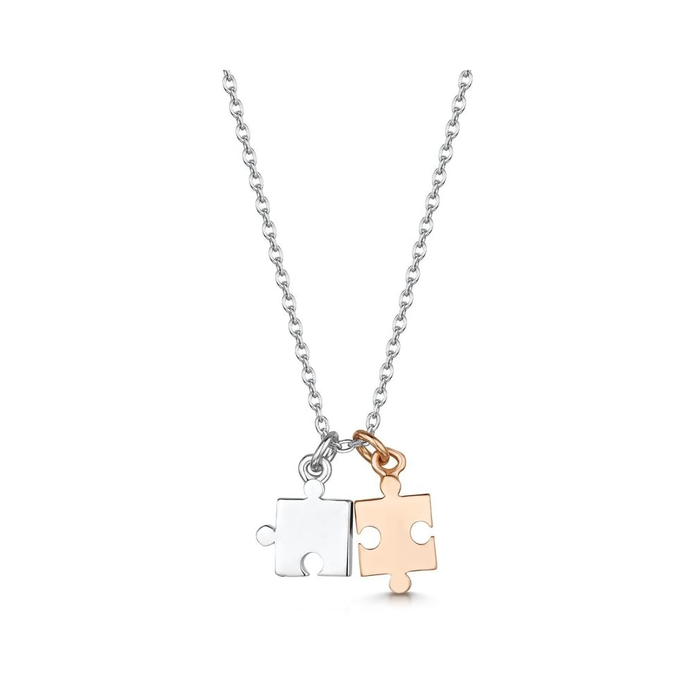 jigsaw personalized necklace and charmed carat gold charm puzzle diamond personalised lily jewellery