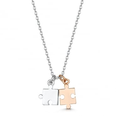 Love X Infinity Rose Gold & White Puzzle Pendant Necklace