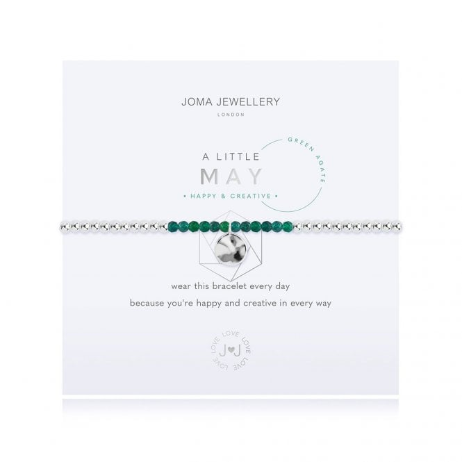 Joma Jewellery A Little Birthstone May Green Agate Silver Bracelet
