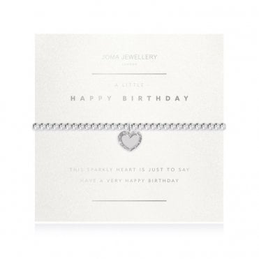 A Little Happy Birthday Faceted Silver Bracelet